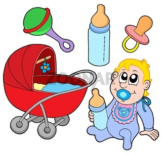 Baby collection on white background - isolated illustration.