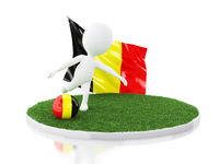 3d White people with Belgium flag and soccer ball