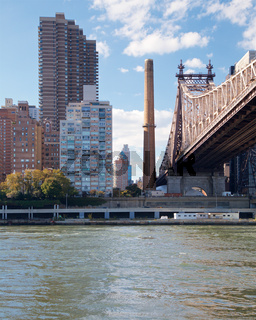 View of the Manhattan waterfront across the East River from Roosevelt Island