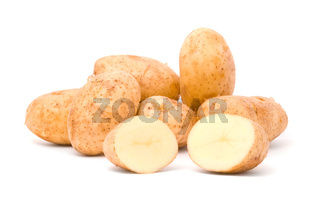 Fresh potatoes on a white background