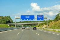 freeway road signs on Autobahn A81 showing Stuttgart / Ehningen