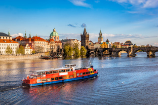 Prague, Czech Republic. Charles Bridge, boat cruise on Vltava river