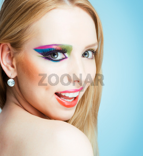 close-up portrait of blonde with creative make-up