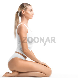 Woman in white underwear
