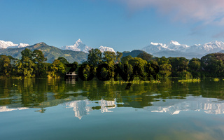 Fewa Lake and the Annapurna range in Pokhara