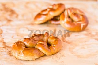 Closeup of cooked pretzel