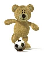 Nhi Bear kicks off a soccer ball