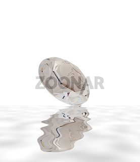 diamond shaped crystal for 25 anniversary on white background