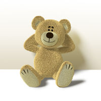 Nhi Bear Leans against Wall, Front