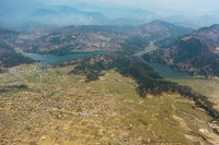 Aerial view of Begnas and Rupa lakes in Nepal