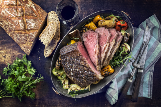Roast Beef with Vegetable and Farmhouse Bread