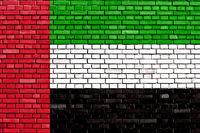 flag of United Arab Emirates painted on brick wall
