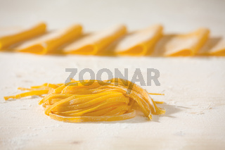 Closeup of fresh uncooked tagliatelle pasta