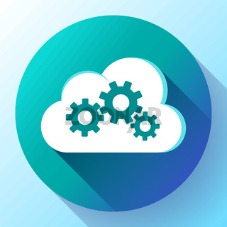 Cloud Logo Cloud Services Cloud Computing Gear Logo Vector cloud settings