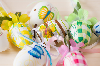 Close up of painted handmade easter eggs