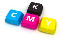 Computer keybord with letters CMYK isolated on the white background