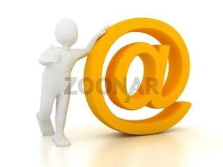 e-mail sign over white. 3d render