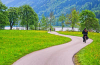 Bicycle track on Danube river in Austria