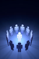 The creative team (symbolic figures of people). 3D rendering  illustration
