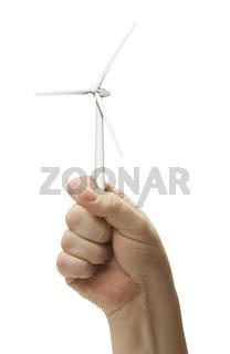 Male Fist Holding Wind Turbine Isolated
