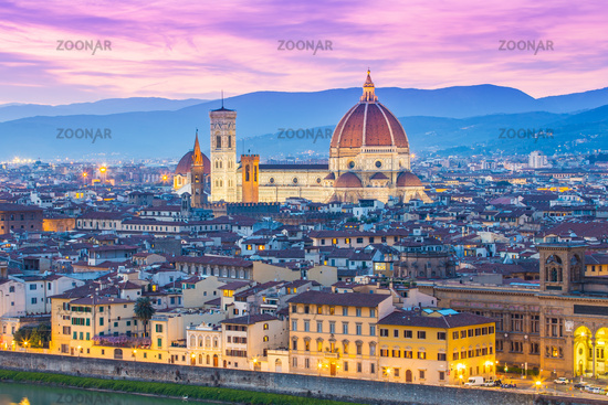 Night view of Florence city skyline in Tuscany, Italy