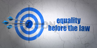 Politics concept: target and Equality Before The Law on wall background