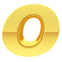 Gold alphabet symbol letter O with gradient reflections isolated on white. High resolution 3D image