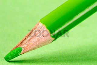 Green pencil on paper close-up