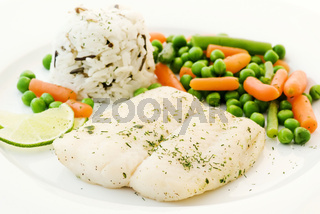 Catfish with vegetable and rice as closeup on white plate