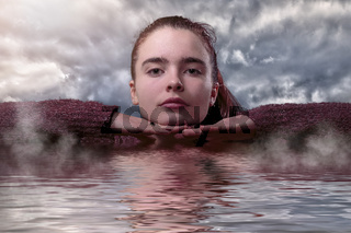 save the water, portrait of a young woman