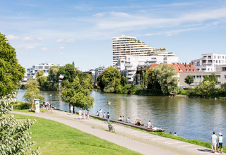 People walking at the Danuber riverfront in Ulm