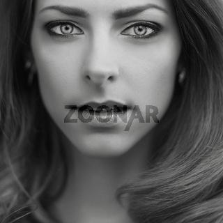 emotion black and white girl portrait
