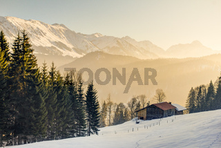 Splendid view from wooden cabin to the mountains of Allgäu