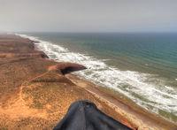 Paragliding over the coastline of Morocco