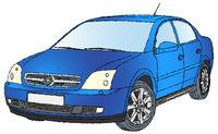 Blauer Mittelklassewagen