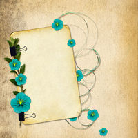 Paper with flowers on old grunge background