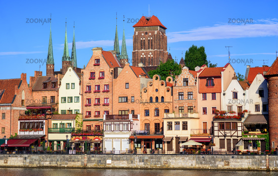 Gothic houses and cathedral in old town of Gdansk, Poland