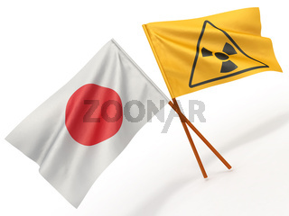 Japanese flag wiyh symbol of radiation. 3d