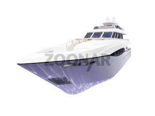isolated big yacht on white background