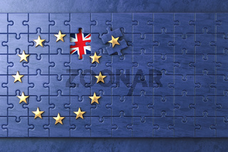 Brexit concept. Puzzle with EU European Union flag  without Great Britain UK star.