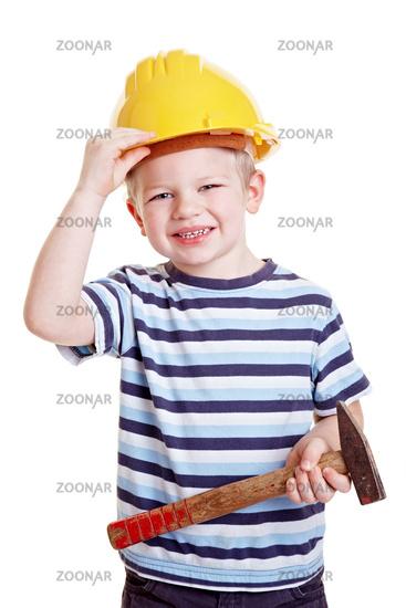 Kind verkleidet sich als Handwerker