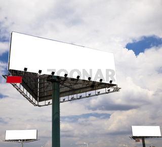 the billboard on the blue sky background.