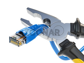 Pliers cutting lan network computer cable. Internet connection disconnected.