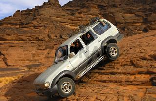 Geschicklichkeitstest in einer steilen Felspassage