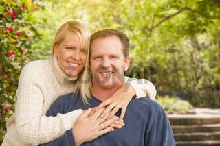 Happy Attractive Caucasian Couple in the Park