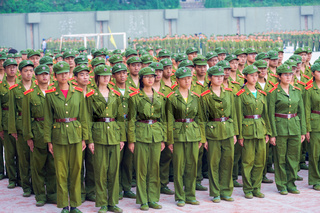 Coed Chinese Students Military Training Formation