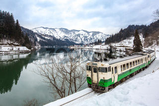 Train with Winter landscape