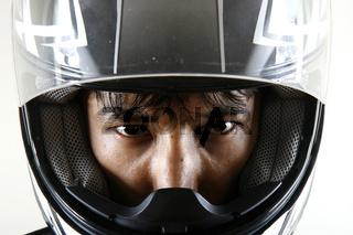 Strong eyes in bike helmet