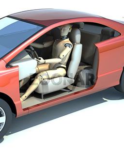 Crash test dummy behind the wheel