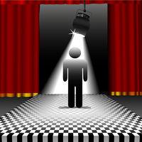 Person in spotlight on checkerboard floor